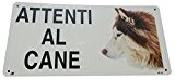 Cartello Attenti al cane SIBERIAN HUSKY in metallo